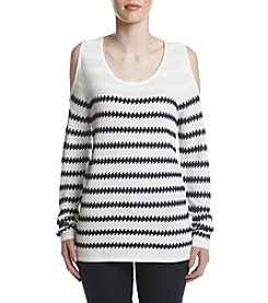 Fever™ Striped Cold Shoulder Sweater