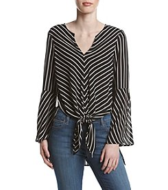 Fever™ Striped Tie Front Blouse