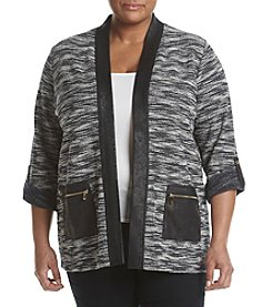 Jones New York® Plus Size Roll Sleeve Open Front Cardigan