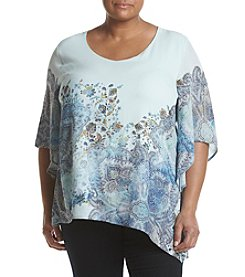 Oneworld® Plus Size Angle Sleeve V-Neck Blouse