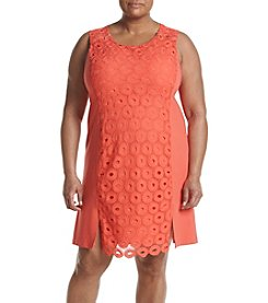 Rafaella® Plus Size Ponte Eyelet Dress