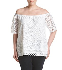 Rafaella® Plus Size Off Shoulder Lace Top