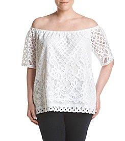 Rafaella® Plus Size Off Shoulder Lace Top