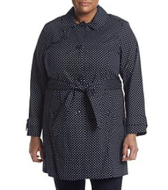 London Fog® Plus Size Polka Dot Trench Coat