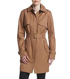 Kenneth Cole® Faux Leather Detail Trench Coat