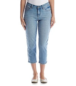 Earl Jean® Petites' Denim Capri with Side Embroidery