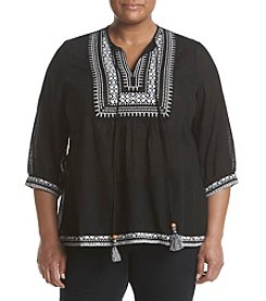 Relativity® Plus Size Embroidered Tassel Peasant Top