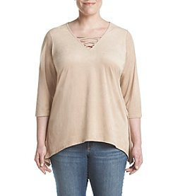 Relativity® Plus Size Faux Suede Sharkbite Top