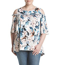 Relativity® Plus Size Floral Cold-Shoulder Top