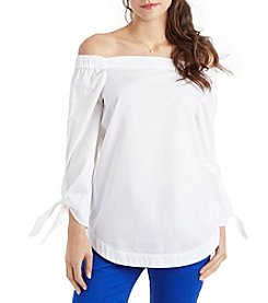 XOXO® Off-Shoulder Poplin Top