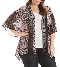 Eyeshadow® Plus Size Lace Trim Kimono