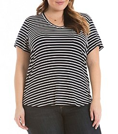 Eyeshadow® Plus Size Striped Swing Tee