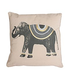Ezra Elephant Foil Studded Decorative Pillow
