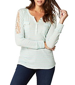 Vintage America Blues™ Striped Lace Henley Top
