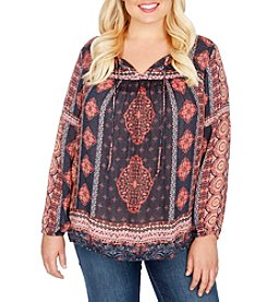 Lucky Brand® Plus Size Border Print Peasant Top