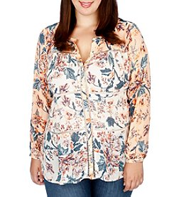 Lucky Brand® Plus Size Mixed Print Peasant Top