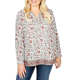 Lucky Brand® Plus Size Metallic Border Print Shirt