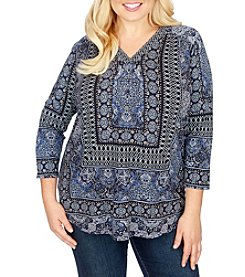 Lucky Brand® Plus Size Border Print Top