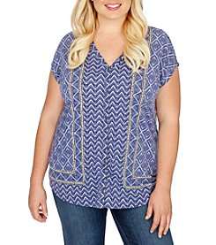 Lucky Brand® Plus Size Printed Button Front Top