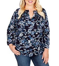 Lucky Brand® Plus Size Floral Vines Top