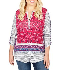 Lucky Brand® Plus Size Border Floral Henley Shirt