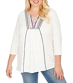 Lucky Brand® Plus Size Embroidered Top