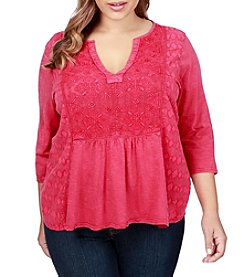 Lucky Brand® Plus Size Embroidered Solid Top