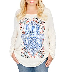 Lucky Brand® Plus Size Watercolor Hamsa Hand Tee