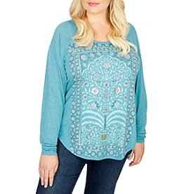 Lucky Brand® Plus Size Flower Frame Top