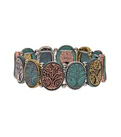 L&J Accessories Patina Tree Of Life Oval Link Stretch Bracelet