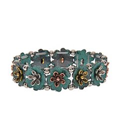 L&J Accessories Patina Flower Stretch Bracelet
