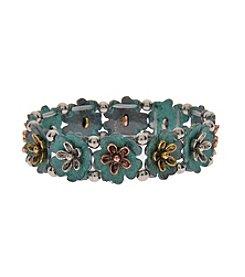 L&J Accessories Patina Flower Stretch Bracelet