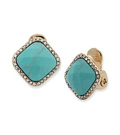 Anne Klein® Reconstituted Stone Clip Stud Earrings