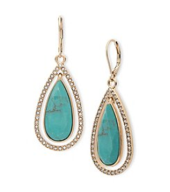 Anne Klein® Orbital Reconstituted Stone Teardrop Earrings