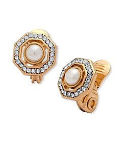 Anne Klein® Clip Pearl Button Earrings