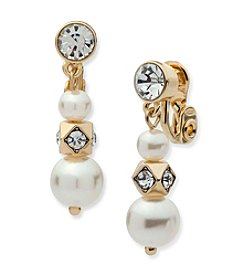 Anne Klein® Clip On Simulated Pearl Drop Earrings