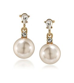 Carolee® Simulated Pearl Double Drop Pierced Earrings