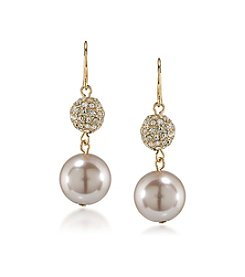 Carolee® Suede Simulated Pearl Double Drop Pierced Earrings