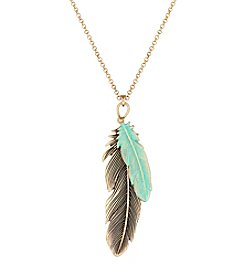 Lucky Brand® Patina Feather Pendant Necklace