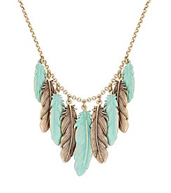Lucky Brand® Patina Feather Collar Necklace