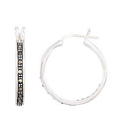 Victoria Crowne Genuine Marcasite Hoop Earrings