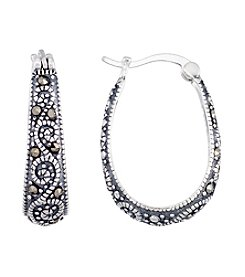Victoria Crowne Genuine Marcasite Graduated Oval Hoop Earrings
