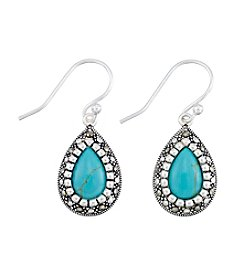Victoria Crowne Genuine Marcasite And Synthetic Turquoise Earrings