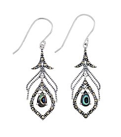Victoria Crowne Genuine Marcasite And Abalone Peacock Earrings