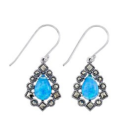 Victoria Crowne Genuine Marcasite And Synthetic Opal Earrings