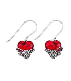 Victoria Crowne Genuine Marcasite And Glass Heart Earrings