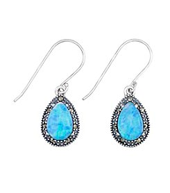 Victoria Crowne Genuine Marcasite And Synthetic Opal Teardrop Earrings