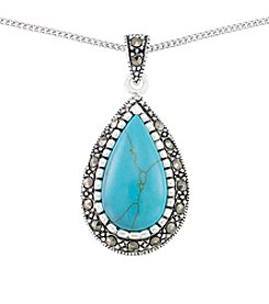 Victoria Crowne Genuine Marcasite And Synthetic Turquoise Teardrop Pendant