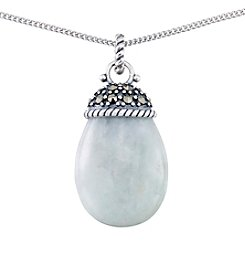Victoria Crowne Genuine Marcasite And Jade Drop Pendant With Chain