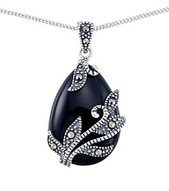 Victoria Crowne Genuine Marcasite And Onyx Teardrop Pendant
